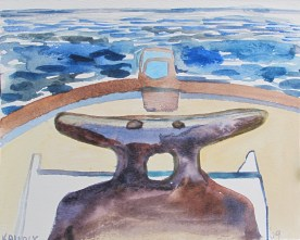 Diveboat Study 1, watercolor on paper, 4 by 5 in. Emilia Kallock 2012