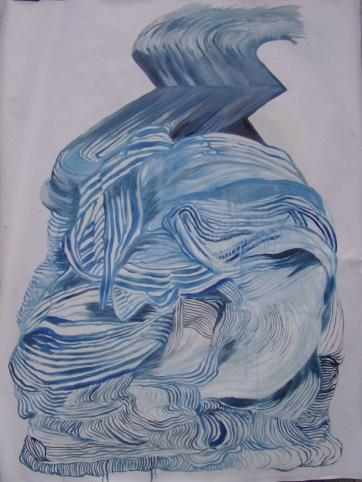 Dynamic Dress, oil on primed paper, 35 by 28 in. Emilia Kallock 2005
