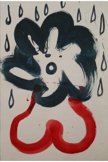 Flower in Rain, watercolor on paper, 24 by 15 in. Emilia Kallock 2003