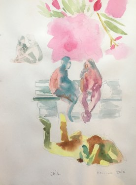 Chile, Plaza Study, watercolor on paper, 11 by 9in. Emilia Kallock 2017