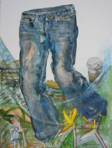 Jeans in the Country, watercolor on paper, 38 by 22 in. Emilia Kallock 2006