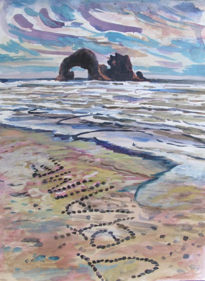 Je t'aime, watercolor on paper, 14 by 10 in. Emilia Kallock 2012