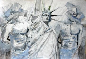 Liberty Boys, acrylic on paper, 50 by 60 in. Emilia Kallock 2008