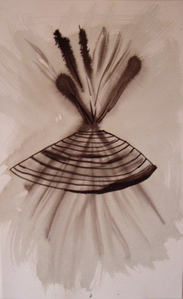 Stick Arrangement, watercolor on paper, 18 by 10 in. Emilia Kallock 2005