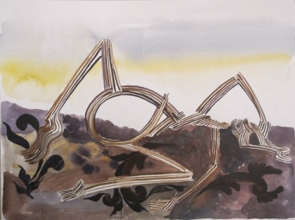 Stick Woman 1, watercolor on paper, 6 by 11 in. Emilia Kallock 2014