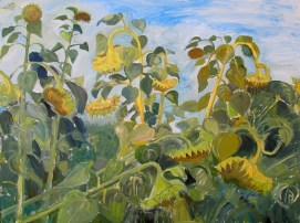Sunflowers, oil on canvas, 36 by 42 in. Emilia Kallock 2014