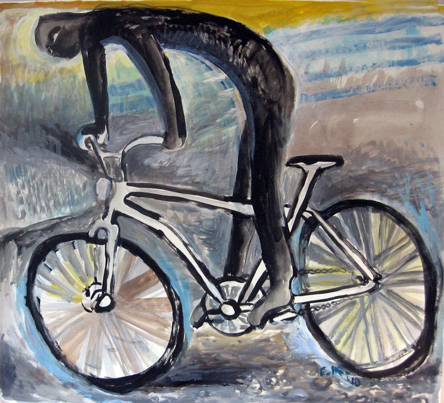 The Dark Rider, acrylic on paper, 48 by 48 in. Emilia Kallock 2010