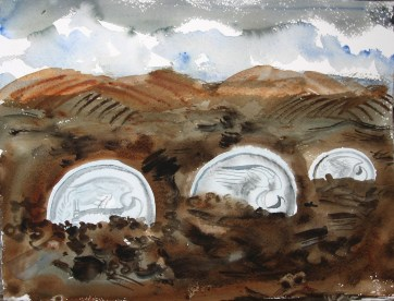 Three Coins 2, watercolor on paper, 10 by 14 in. Emilia Kallock 2007