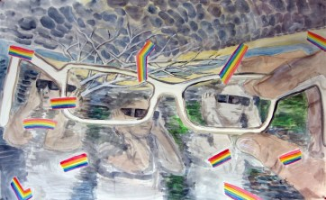 Vision, acrylic on paper, 40 by 52 in. Emilia Kallock 2010