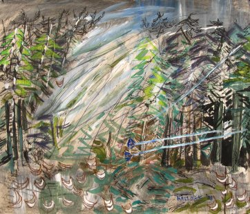 Windy Forest, watercolor on paper, 35 by 42 in. Emilia Kallock 2008