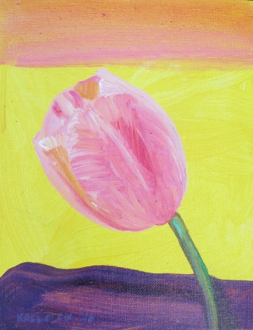 Tulip 10, acrylic and glitter on canvas, 9 by 7 in. Emilia Kallock 2016