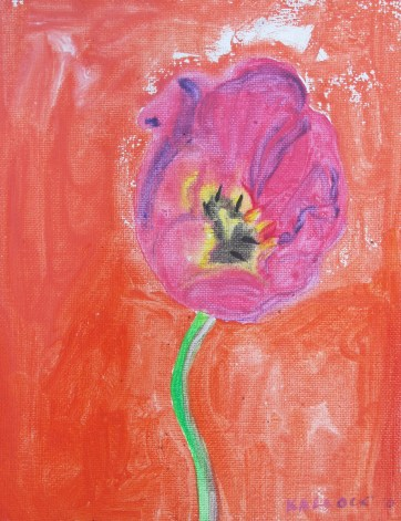 Tulip 5, acrylic and glitter on canvas, 9 by 7 in. Emilia Kallock 2016