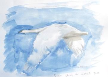 Swan 11, watercolor on paper, 8 by 10 in. Emilia Kallock 2016