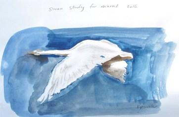 Swan 15, watercolor on paper, 8 by 10 in. Emilia Kallock 2016