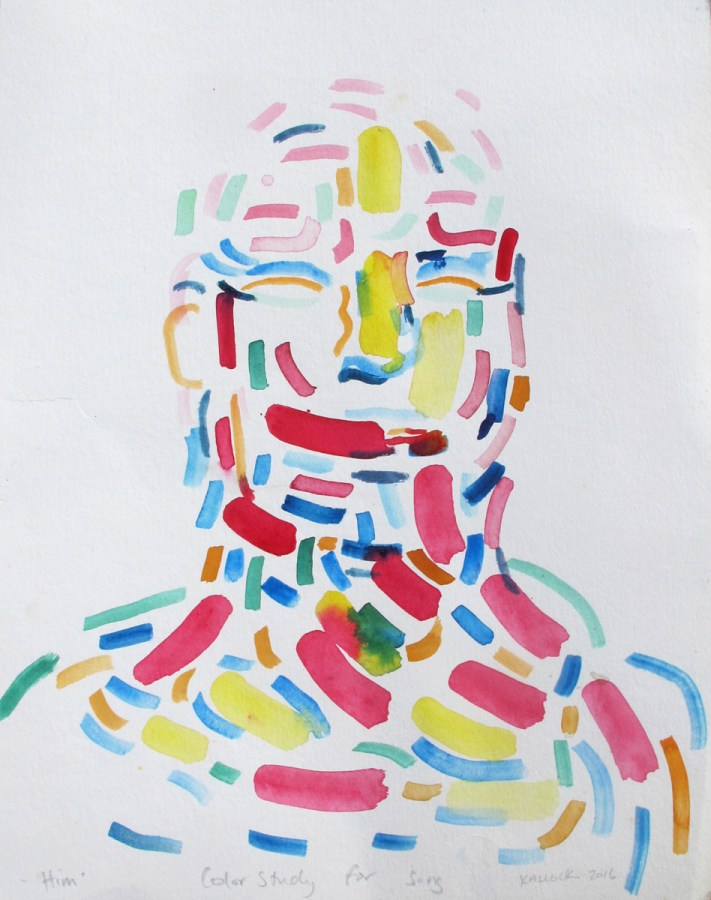 Him, watercolor on paper, 16 by 12 in. Emilia Kallock 2016