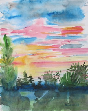 Sunset Color Sketch, watercolor on paper, 9 by 7 in. Emilia Kallock 2016