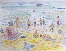 Playa Caleta Abarca, Chile, watercolor and pencil on paper, Emilia Kallock 2016