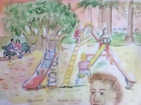 Juegos Scene, Chile, watercolor on paper, 9 by 11 in. Emilia Kallock 2017