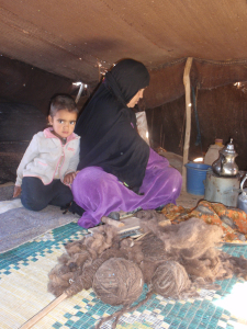 Ahmaa With Goat and Camel Wool to Reinforce Her Tent