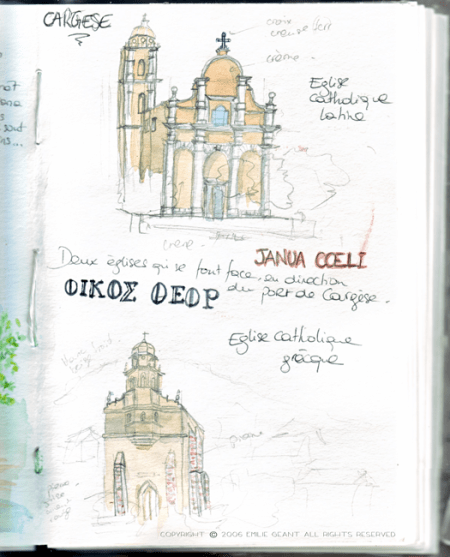 cargese, corsica, corse, travelogue, Emilie Geant, illustration, sketch, France