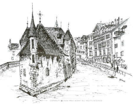 vieilles prisons, annecy, France, ink, Emilie Geant, illustration, sketch,