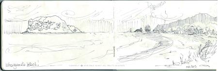 whangamata, beach, Emilie Geant, illustration, sketch