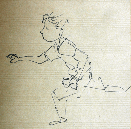 running, kid, ink, Emilie Geant, illustration, sketch, new zealand