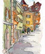 old town, vieille ville, Annecy, France, Emilie Geant, illustration, sketch,