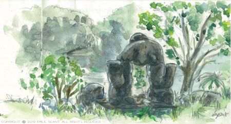 western sprins, statues, Emilie Geant, illustration, sketch, new zealand, auckland