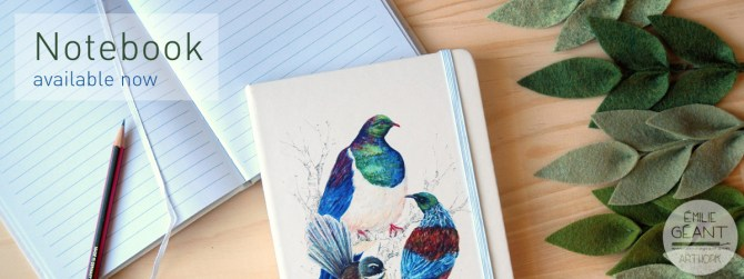 journal, tui, kereru, wood pigeon, fantail, kiwiana, notebook, hard cover, watercolor, ink, illustration, painting, kiwiana, Emilie Geant, Emilie Geant Artwork, bird, birds, New Zealand, Aotearoa