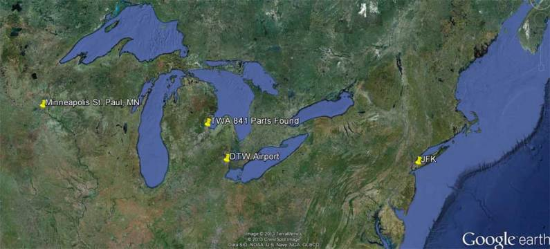 This image shows the route that TWA 841 was following the night of the accident.