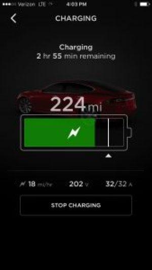 Tesla App - Establecimiento porcentaje de carga