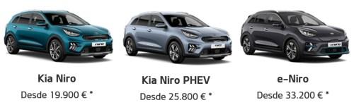 Modelos Kia Niro híbrido, híbrido enchufable y eléctrico. Precios de Kia.com