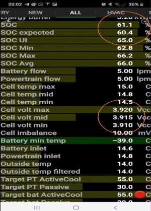 App ScanMyTesla con un 61% de carga y 3,9 V