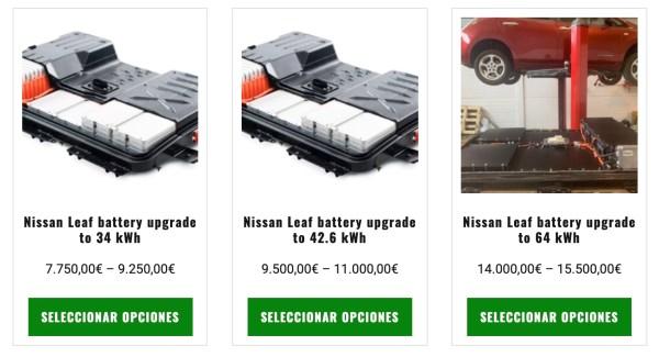 Posibles opciones de actualización de batería para Nissan Leaf