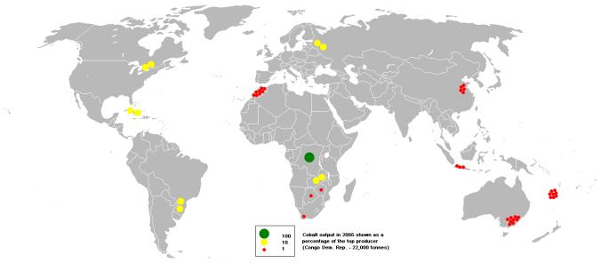 Producción minas de Cobalto en 2005. Fuente Wikipedia.
