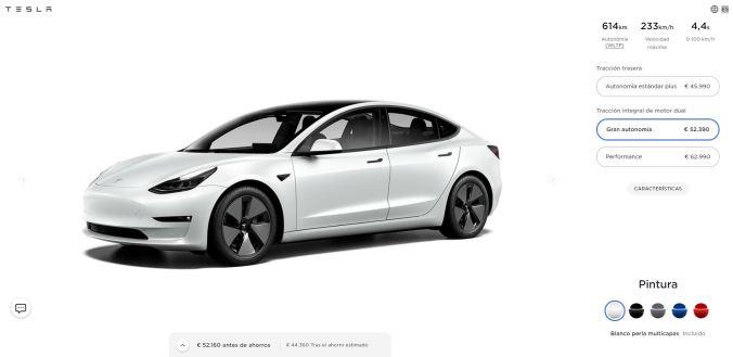 Configurador Tesla Model 3 Gran Autonomía a 28 de abril de 2021