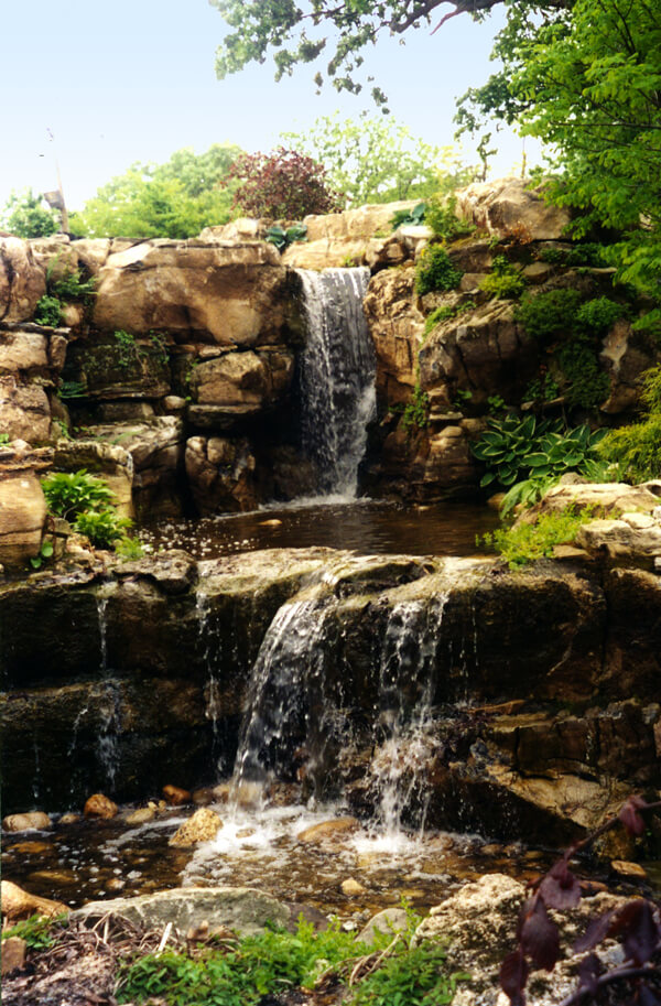 Waterfalls cascading into pools from the North Shore of Long Island, NY