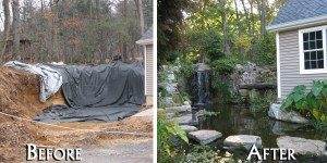 Waterfall in East Norwich Long Island NY designed and built by Emil Kreye & Son, Inc.