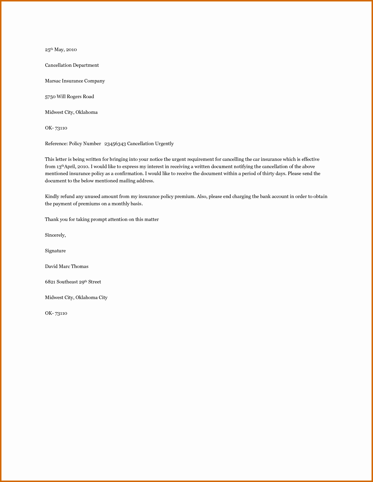 Car Insurance Cancellation Letter Sample Letters Induced Info