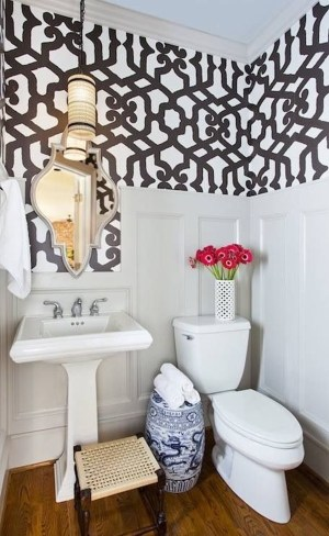 powder wainscoting bathroom rooms terracotta ivy bathrooms bath alhambra above fun impeccable interior toilet statement decor inspiration modern eclectic half