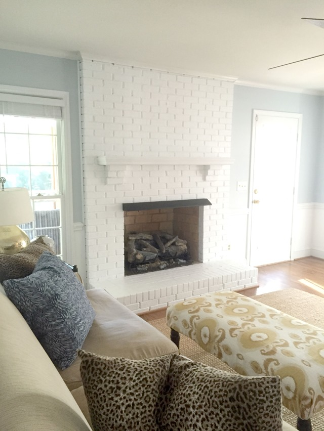 hgtv modern living room setting ideas painting our brick fireplace white - emily a. clark