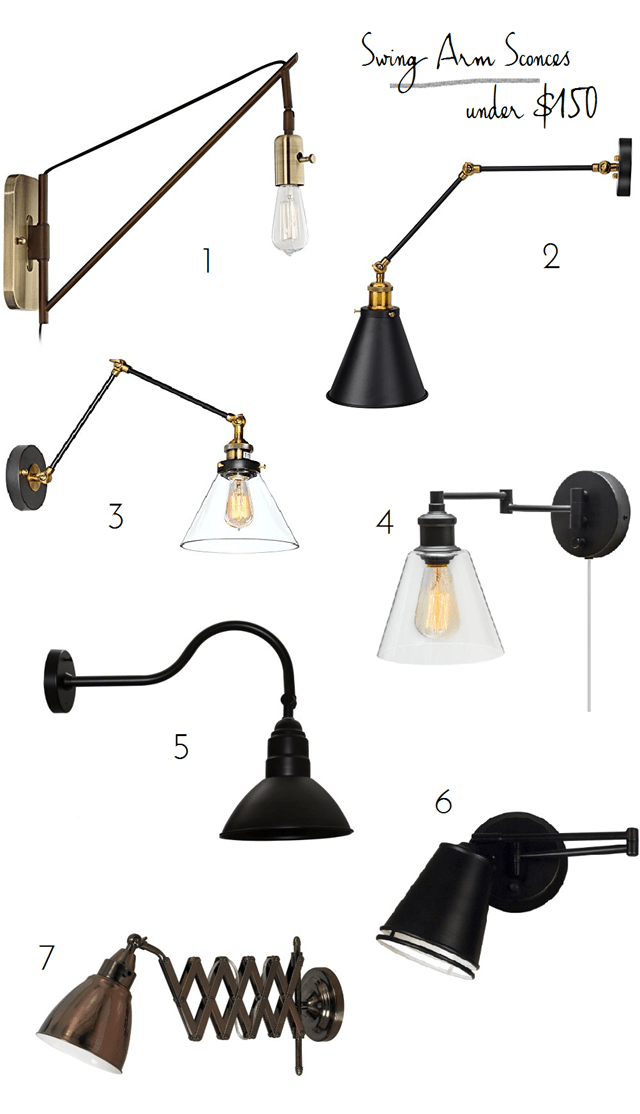 lighting ideas for living room with ceiling fan small table swing arm wall lamps under $150 - emily a. clark