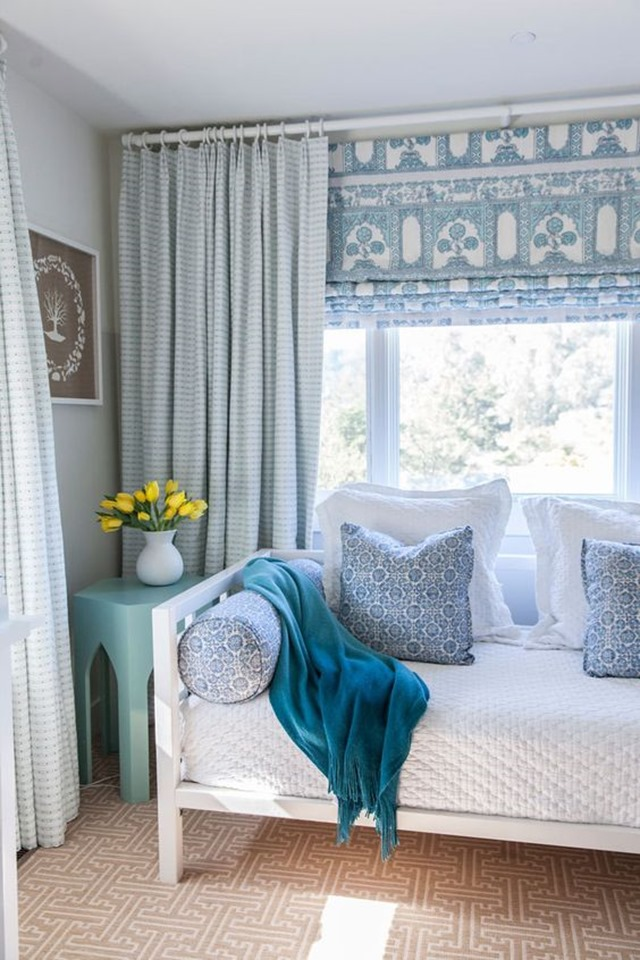 Pairing Patterned Roman Shades With Curtains More Window Ideas
