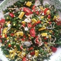 Corn and Kale Salad with Basil Lime Vinaigrette