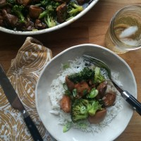 Sticky Bourbon Chicken and Broccoli