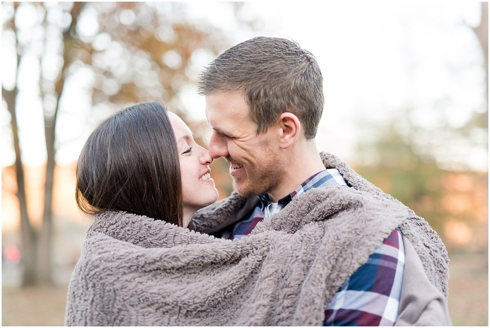 blanket fall engagement photos