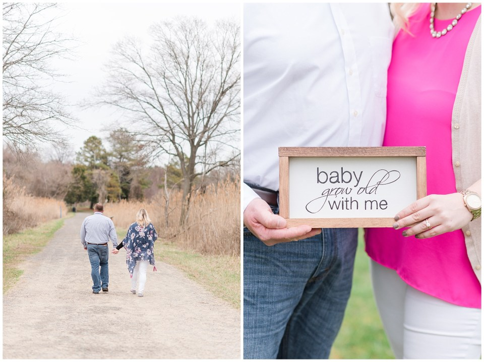 baby-grow-old-with-me-sign-engagement-photo