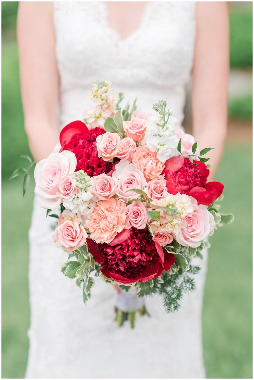 blush-pink-red-coral-greenery-virginia-wedding-bouquet-old-house-vineyards-wedding-photo
