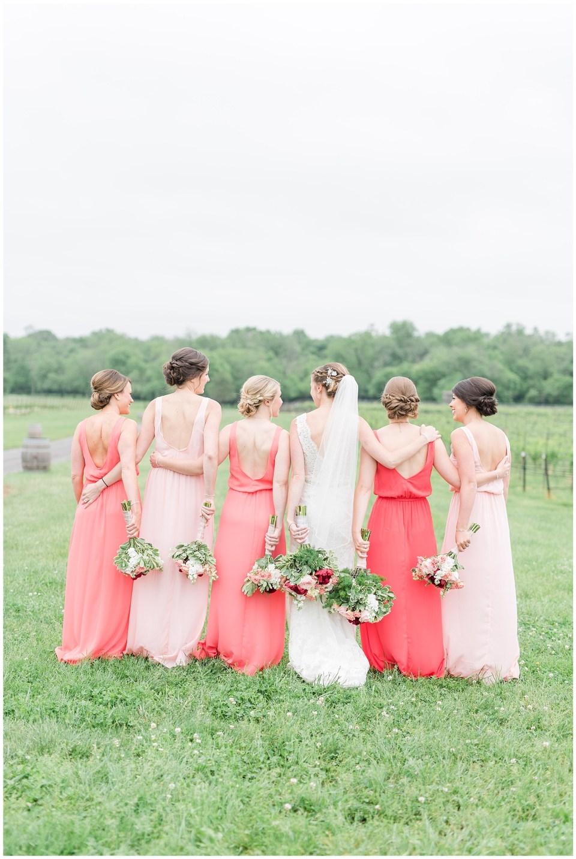 coral-blush-bridesmaids-dresses-old-house-vineyards-wedding-photo